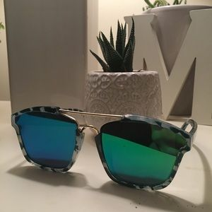 NWOT Turquoise Green and Blue tortoise sunglasses